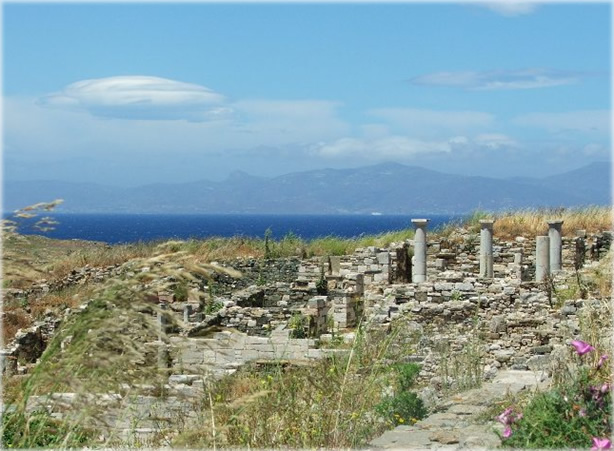 Ruins of Delos, from the late Helenistic era of Greece, as seen in spring 2005. Photo by Eric Francis.