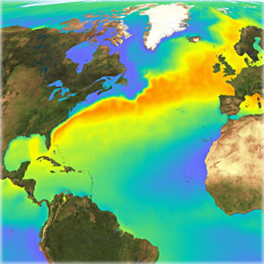 The Gulf Stream originates in the Gulf of Mexico, travels up the East Coast and across the Atlantic, where it warms the climate of Western Europe and the British Isles.