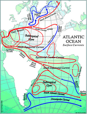 This view of Atlantic Ocean currents shows an even more complex set of possibilities as to where the oil spewing from a single well in the Gulf of Mexico can travel. Oceans are not stagnant ponds; they are dynamic systems, and what happens in any ocean can affect what happens in any other.