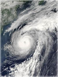 Hurricane Alex formed and moved along the axis of the Gulf Stream in 2004. Photo from Wikimedia Commons.