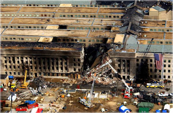 Official photo of the damage to the Pentagon on Sept. 14, 2001, supposedly due to the crash of a  757-200 airliner filled with fuel. Original copy is here. More detailed analysis of the image is here.  Photo by Tech. Sgt. Cedric H. Rudisill.