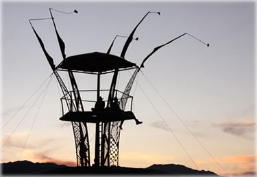 Lookout tower, Black Rock City (Burning Man) 2009. Photo by Eric Francis.