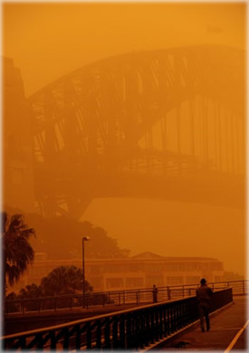 Not Burning Man. The worst dust storm in decades swept across Eastern Australia on Wednesday, blanketing Sydney and snarling transport as freak conditions also brought earthquakes, giant hailstones and even a tornado. Photo: The Standard.